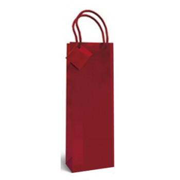 Saco de Papel com Asa Para Garrafa Vermelho 36x13x8,5cm 12 Unid.