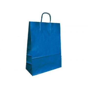Saco de Papel Asa Torcida Azul 36x27x12cm 25 Unidades