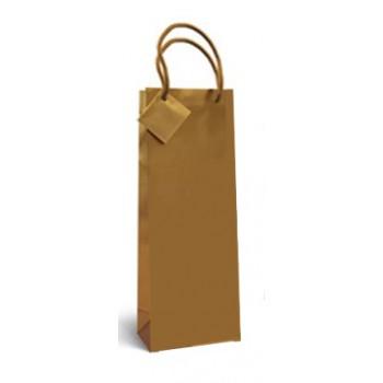 Saco de Papel com Asa Para Garrafa Ouro 36x13x8,5cm 12 Unidades
