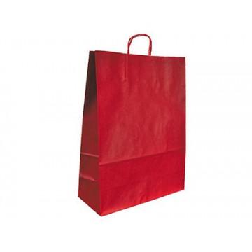 Saco de Papel Asa Torcida Vermelho 36x27x12cm 25 Unidades