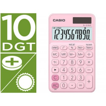 Calculadora de Bolso Casio SL-310UC-PK 10 Dígitos Rosa