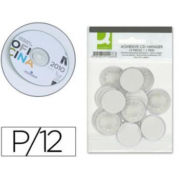 Suporte Adesivo para CD e DVD Bolsa 12 Unidades Q-Connect