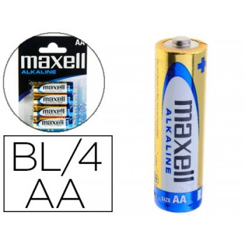 Pilha R06 AA Alkaline Maxell Pack 4 Unidades