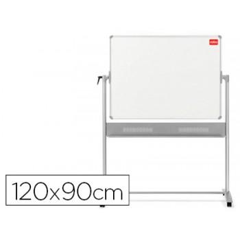 Quadro Branco Magnético 120x90cm Dupla Face Giratório + suporte com rodas
